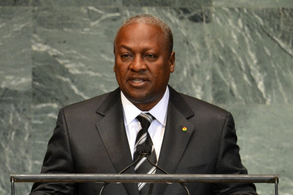 John Dramani Mahama, President of Ghana, speaks during the 67th session of the United Nations General Assembly September 26, 2012 at UN headquarters in New York. AFP PHOTO/Stan HONDA (Photo credit should read STAN HONDA/AFP/GettyImages)
